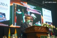 Sambutan oleh Ketua Pelaksana Wisuda Pascasarjana, Sarjana, Profesi, Diploma Universitas Nasional, dan akademi-akademi Nasional  periode II T.A. 2019/2020 Dr. Mustakim, S.H., M.H.