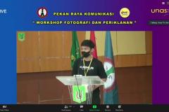 """Sambutan ketua pelaksaana pada kegiatan Workshop """"Komunikasi Visual Melalui Media Foto dan Video"""" pada Kamis, 17 Juni 2021 yang diselenggarakan via zoom meeting"""