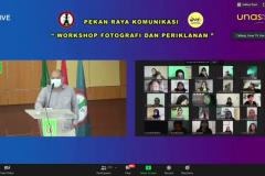 """Sambutan kaprodi Ilmu Komunikasi UNAS Drs. Adi Prakoso, M.Si. pada kegiatan Workshop """"Komunikasi Visual Melalui Media Foto dan Video"""" pada Kamis, 17 Juni 2021 yang diselenggarakan via zoom meeting"""