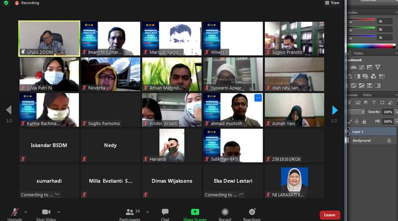 Pelatihan workshop penulisan berita dan tata kelola konten website pada Rabu, 17 Februari 2021 melalui aplikasi zoom