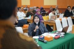 Wakil Rektor Bidang Penelitian dan Pengabdian pada Masyarakat Prof. Dr. Ernawati Sinaga, M.S., Apt. saat berdiskusi