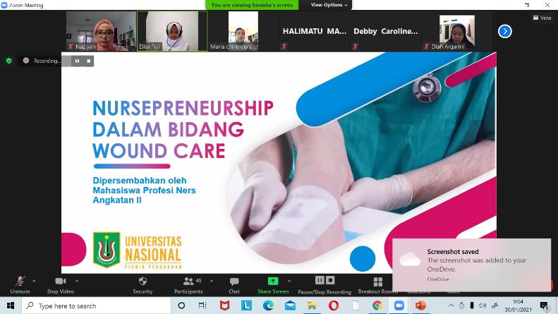 "Webinar Keperawatan Luka ""'Nursepreneurship Dalam Bidang Wound Care' melalui aplikasi zoom pada Sabtu 30 Januari 2021"