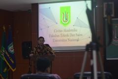 Sambutan Dekan Fakultas teknik dan sains UNAS dalam acara yudisium