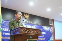 Sambutan Ketua  Pelaksana yudisium FISIP Angga Sulaiman, S.I.P., M.Si. Di Auditorium blok 1 lantai 4 Universitas Nasional, Senin (15/4)