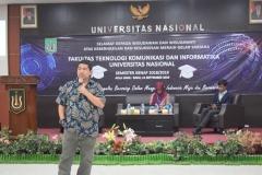 sambutan dari Warek Bidang Akademik, Prof. Dr. Iskandar Fitri, S.T., M.T dan sekaligus memberikan materinya