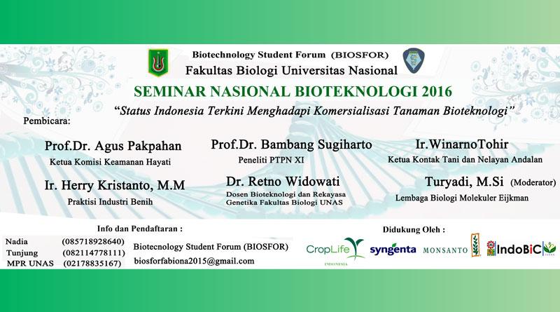 Seminar Nasional Bioteknologi 2016