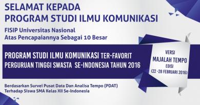 Prestasi Ilmu Komunikasi (FISIP UNAS)  Versi Majalah Tempo 2016