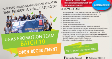 Pendaftaran Universitas Nasional Promotion Team Batch 10