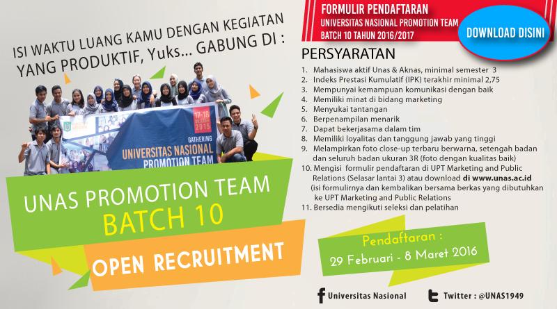 Pendaftaran Universitas Nasional Promotion Team Batch 10