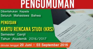 Pengumuman Kartu Rencana Studi UNAS