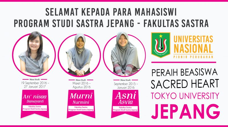 PERAIH BEASISWA SACRED HEART UNIVERSITAS TOKYO -  JEPANG
