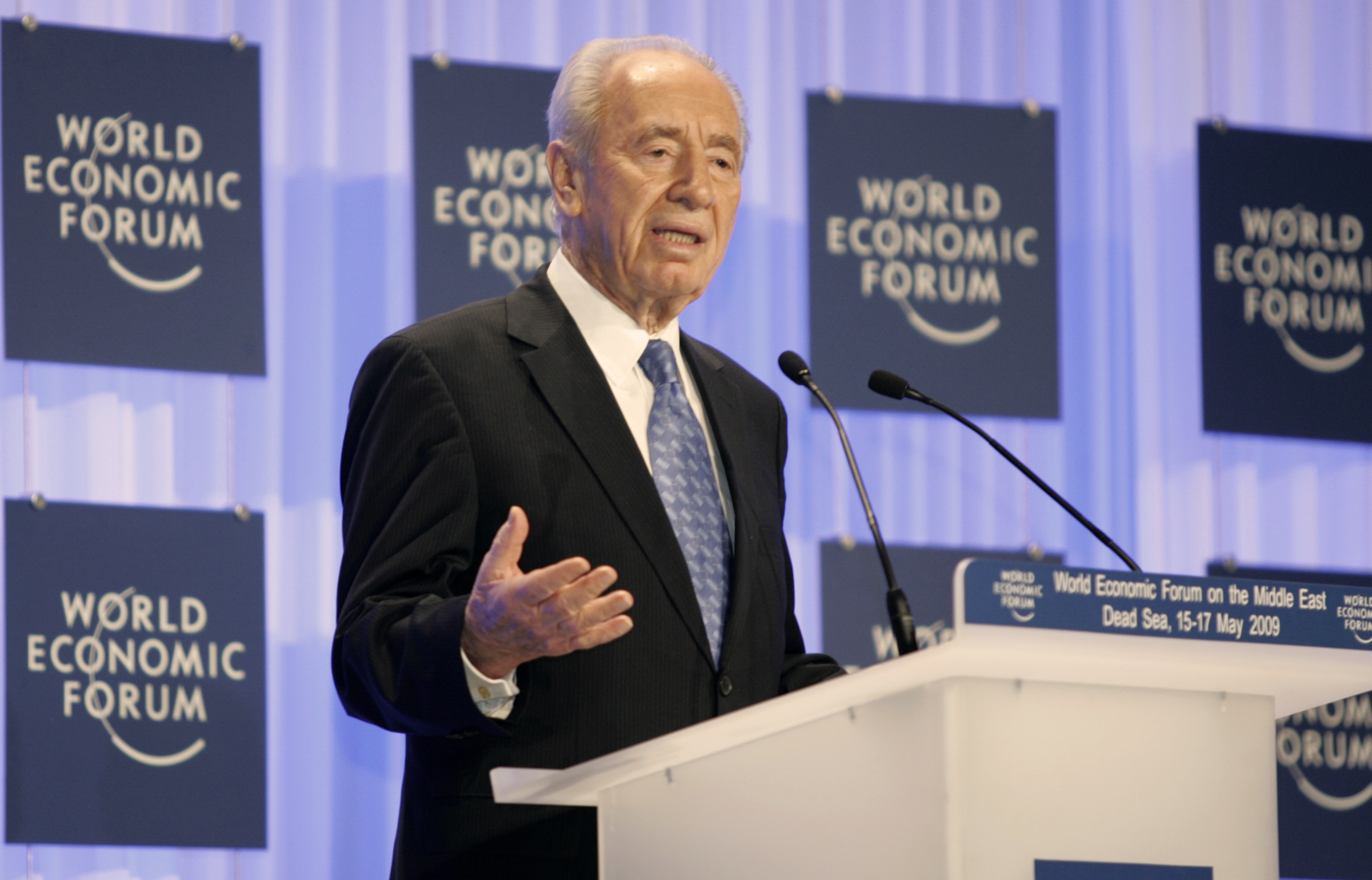 """DEAD SEA/JORDAN,17MAY09 -Shimon Peres, Presedint of Israel captured during the World Economic Forum on the Middle East at the Dead Sea in Jordan, May 17, 2009. Copyright èa href=""""http://www.weforum.org"""">World Economic Forum[/a] (èa href=""""http://www.weforum.org"""">www.weforum.org[/a])/Photo by  Nader Daoud"""