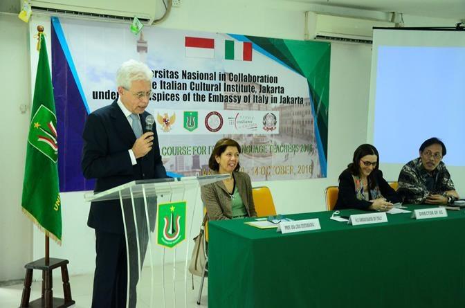 Duta Besar Italia Resmikan Updating Course For Italian Language Di UNAS