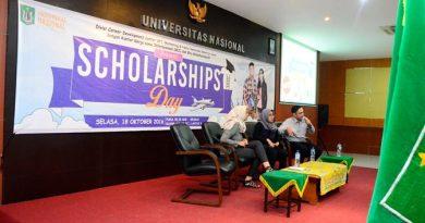 Suasana dalam berbagi pengalaman oleh pra peraih Beasiswa dalam Negeri Maupun Luar Negeri, di Ruang Aula Universitas Nasional, Selasa (18/10).