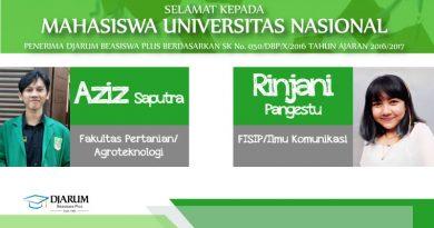 Penerima Djarum Beasiswa Plus 2016-2017 (Universitas Nasional)