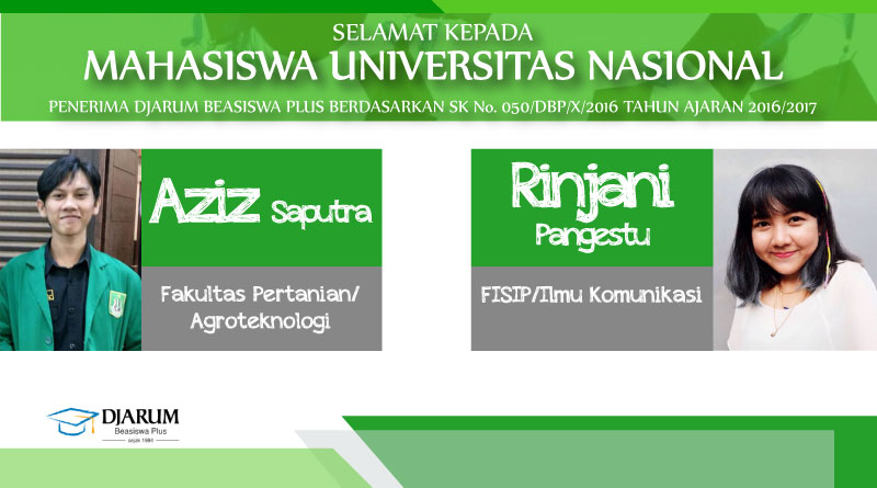 Penerima Djarum Beasiswa Plus 2016-2017 (Universitas Nasional)