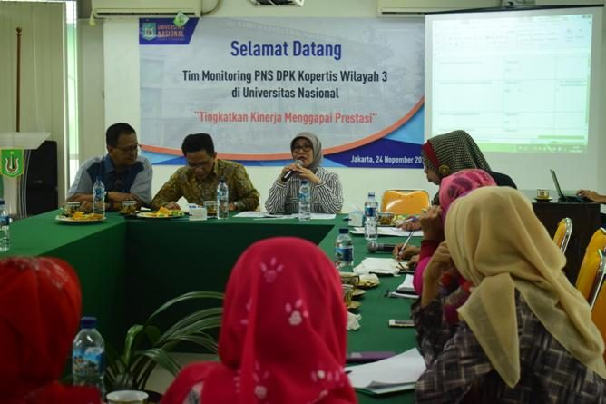 Monitoring PNS DPK Kopertis Wilayah III kepada Dosen PNS dilingkungan UNAS. Diruang Seminar Lant. III Universitas Nasiona, Kamis (24/11).