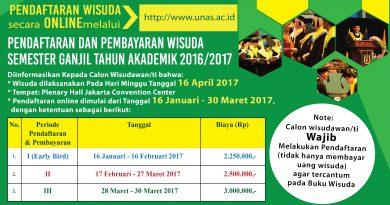 PENDAFTARAN DAN PEMBAYARAN WISUDA SEMESTER GANJIL TAHUN AKADEMIK 2016/2017