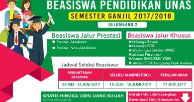 BEASISWA KELAS REGULER UNIVERSITAS NASIONAL 2017/2018  (Gelombang Ke-2)