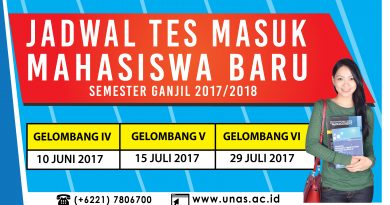 JADWAL TES MASUK MAHASISWA BARU SEMESTER GANJIL 2017/2018