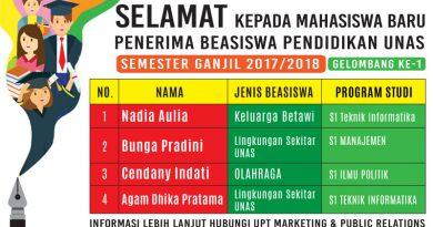 PENERIMA BEASISWA PENDIDIKAN UNAS (GELOMBANG KE-1)