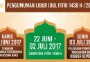 Libur Idul Fitri 1438 H / 2017 M