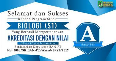 Akreditasi Program Studi Biologi (S1) UNAS 2017