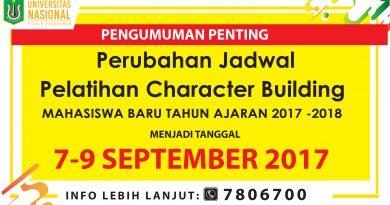 PERUBAHAN JADWAL CHARACTER BUILDING