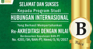 Re-Akreditasi Program Studi Hubungan Internasional UNAS