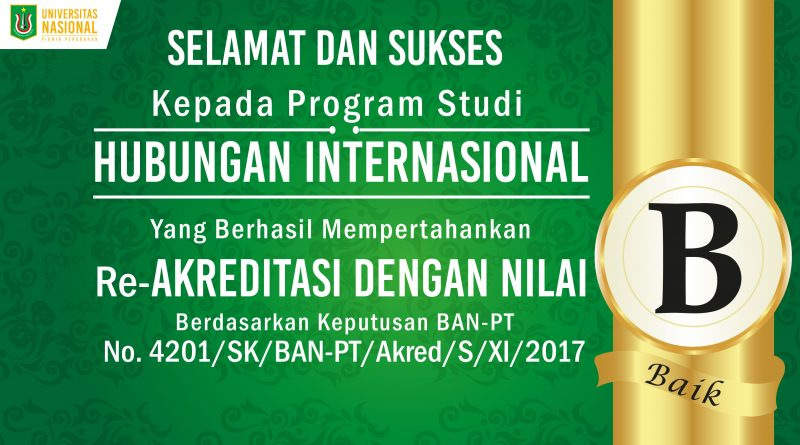 Re-Akreditasi Program Studi Hubungan Internasional UNAS
