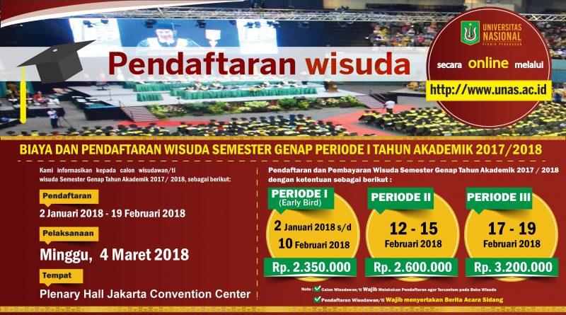 Pendaftaran Wisuda Semester Genap Periode I Tahun Akademik 2017/2018