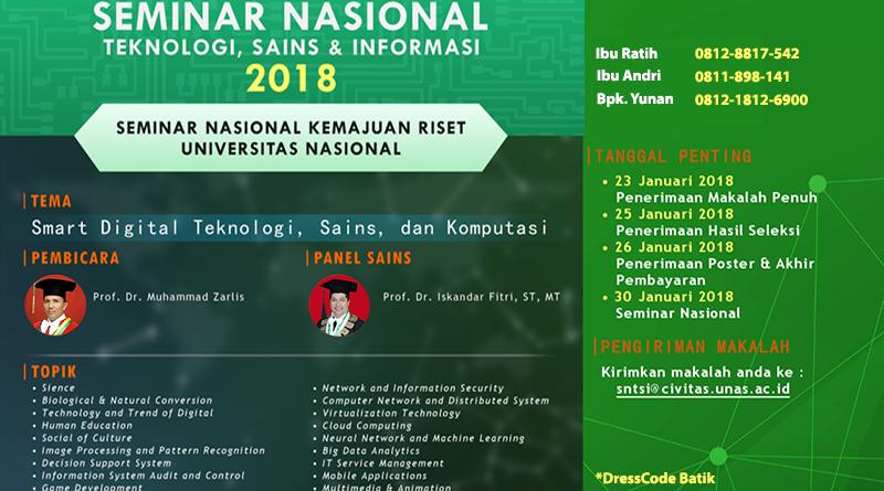 SEMINAR NASIONAL TEKNOLOGI, SAINS, & INFORMASI 2018
