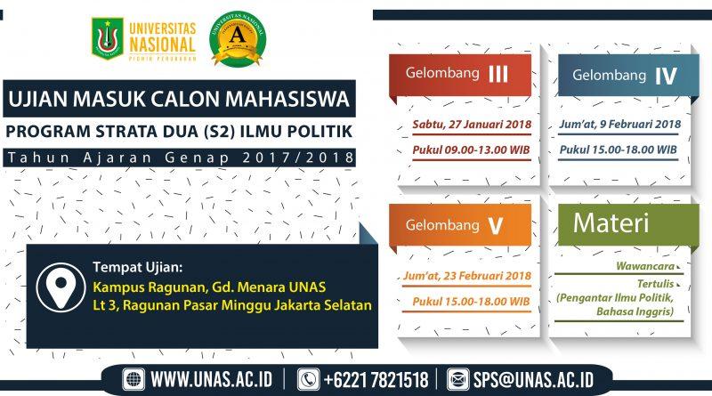 UJIAN MASUK CALON MAHASISWA PROGRAM S2 ILMU POLITIK