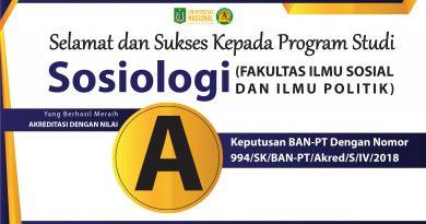 Akreditasi Program Studi Sosiologi (FISIP-UNAS)
