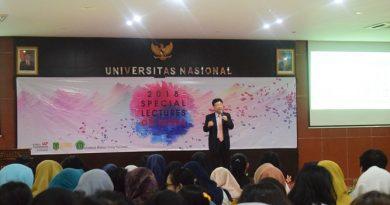 Professor Division of Economics Hanyang University Joonkyung HA saat memaparkan materinya dihadapan mahasiswa ABANAS