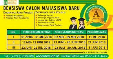 BEASISWA UNAS UNTUK CALON MAHASISWA BARU (SEMESTER GANJIL 2018/2019)