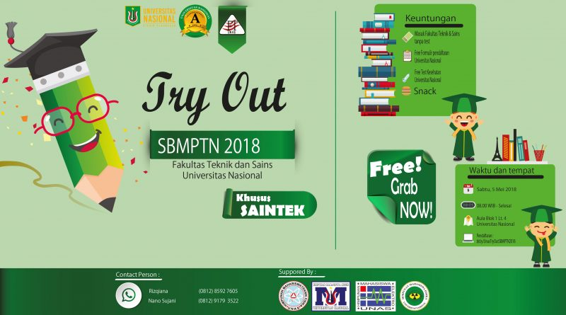 TRY OUT SBMPTN 2018 Fakultas Teknik dan Sains Universitas Nasional