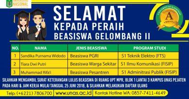 BEASISWA UNAS UNTUK CALON MAHASISWA BARU GELOMBANG II (SEMESTER GANJIL 2018/2019)