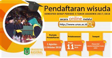 Pendaftaran Wisuda Semester Genap Periode II Tahun Akademik 2017/2018