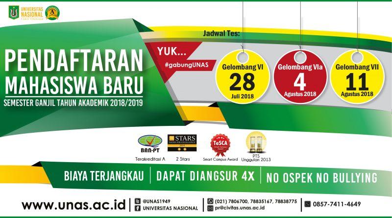 Penerimaan Mahasiswa Baru Semester Ganjil 2018/2019 (Gelombang 6 & 7)