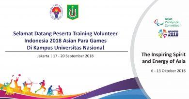 Training Volunteer Indonesia 2018 Asian Para Games di Kampus Universitas Nasional