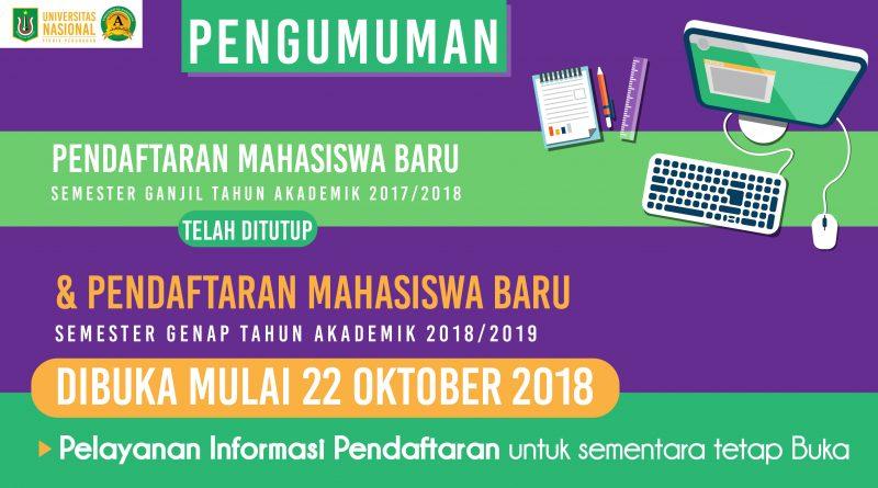Pendaftaran Mahasiswa Baru UNAS Semester Genap T.A. 20182019
