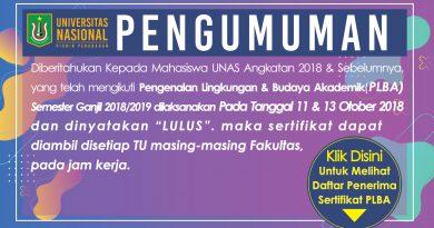 Pengumuman Pengambilan Sertifikat PLBA 2018