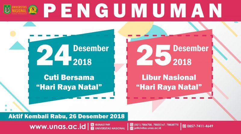 Pengumuman Libur Cuti Bersama Dan Hari Raya Natal 2018