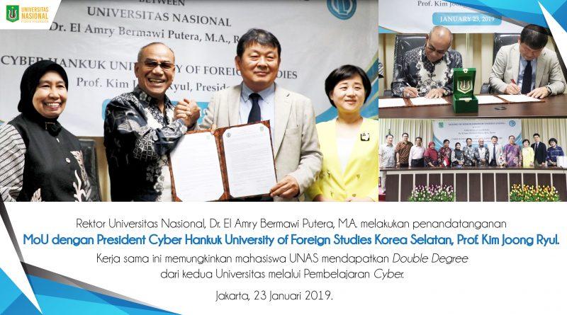 Rektor UNAS Menandatangani MoU dengan President Cyber Hankuk University of Foreign Studies Korea Selatan