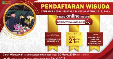 Pendaftaran Wisuda Universitas Nasional Periode I Tahun Akademik 2018/2019