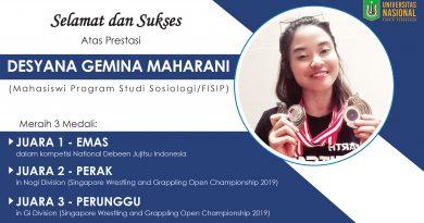 Prestasi Mahasiswi UNAS dalam kompetisi National Debeen Jujitsu Indonesia