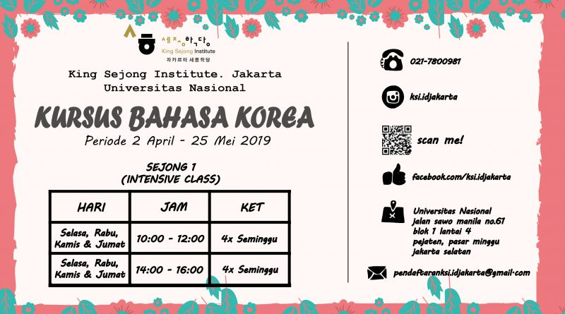 KURSUS BAHASA KOREA Periode 2 April - 25 Mei 2019