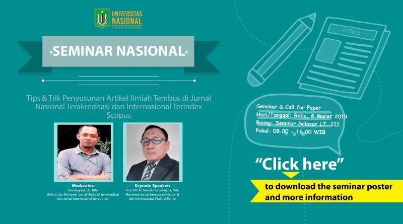 Seminar Nasional Tips & Trik Penyusunan Artikel Ilmiah Tembus di Jurnal Nasional Terakreditasi dan Internasional Terindex Scopus