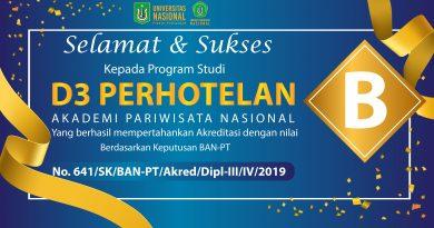 """D3 Perhotelan AKPARNAS berhasil mempertahankan Akreditasi dengan Nilai """"B"""""""